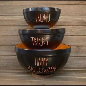 Rae Dunn Halloween Black & Orange Mixing Bowls NEW